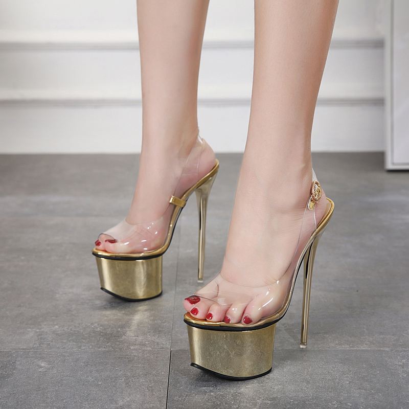 Size 34-40 Sexy Women Transparent Sandals 16cm Ultra High Heels Summer Gold Women Party Shoes Fashion Ladies Platform Shoes цена