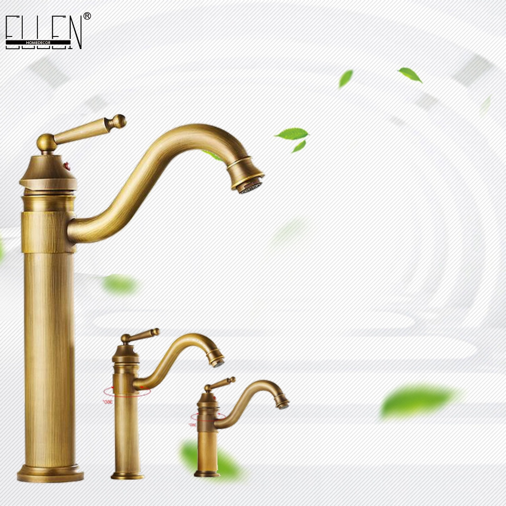 Bathroom Antique Bronze Faucet Tall Vessel Sink Faucets Mixer Hot And Cold Water Tap Antique Bronze Finished EL5002