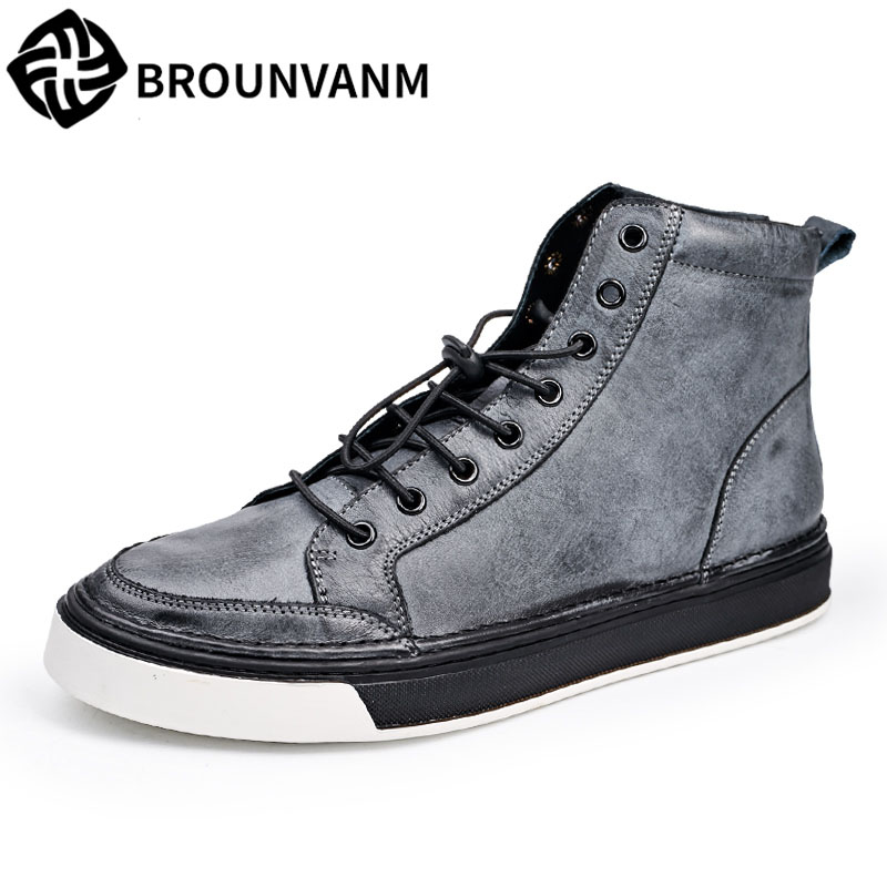 new autumn winter British retro men shoes high retro leather casual shoes for thick elastic round fashion shoes boots 2017 new autumn winter british retro men shoes zipper leather shoes breathable sneaker fashion boots men casual shoes