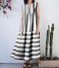 Ameision Dress 2019 Summer Women Vintage Stripe Long Maxi Dresses Casual V Neck Sleeveless Loose Plus Size 4XL 5XL Vestidos Robe