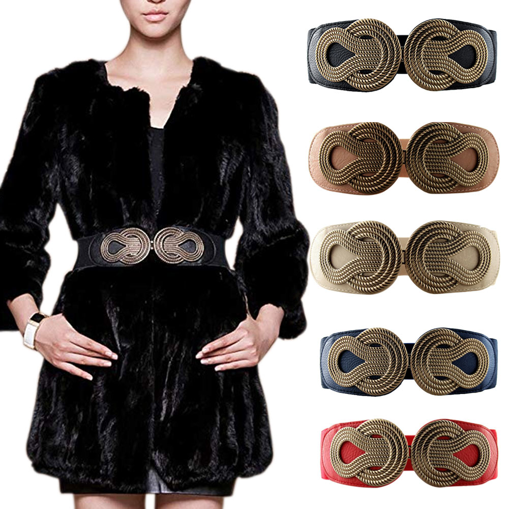 Women Interlock Buckle Waist Belt Elastic Wide Stretchy Decoration Cinch For Dress