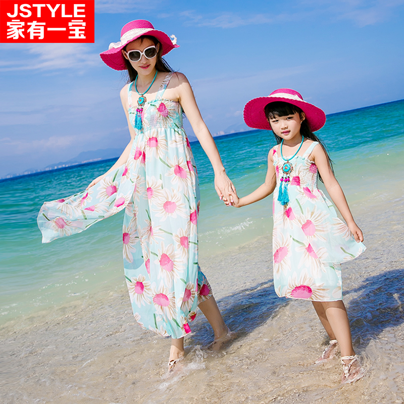 2017 Matching Mother Daughter Dresses Baby Girl and Mother Chiffe Maxi Dress Parent-child Outfit Ma e Filha Bohemian Dresses 2015 ma e filha page 1