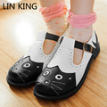 LIN REY Dulce Lolita Hebilla t-correas Zapatos de Los Planos Lindos Gatos Low Top Zapatos de Las Mujeres de LA PU de Cuero Estudiante Punta Redonda Zapatos de Un Solo