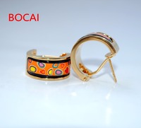 Cloisonne hand painted enamel color European style ear buckle 12