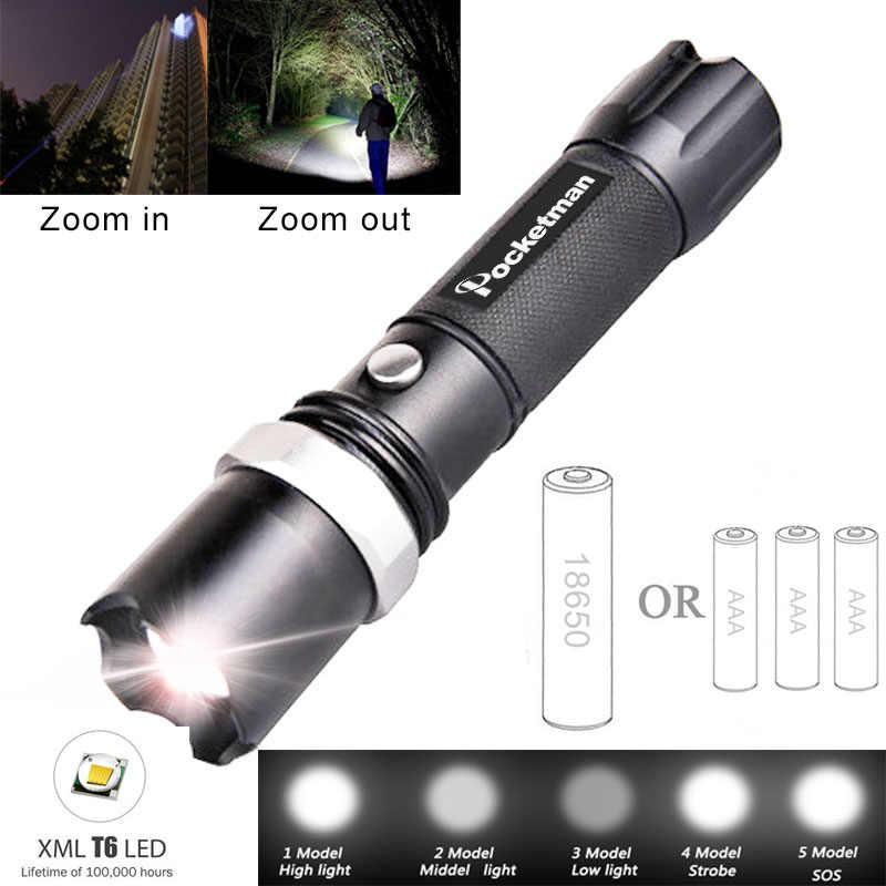 LED el feneri taktik el feneri 5100 lümen XM-T6 zumlanabilir 5 modları Lanterna LED meşale 18650 şarj edilebilir kamp için