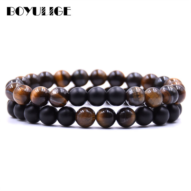 2017 Classic Set Bracelet 8mm Black and White Natural Stone Couple Beaded Bracelet Men and Women Homme Femme Best Jewelry Gift