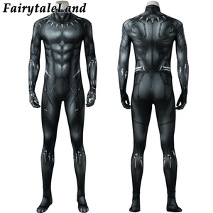 Image 2 - 3D Printing Black Panther Jumpsuit adult Men Carnival Halloween costume Black Panther Cosplay costume Superhero Spandex jumpsuit