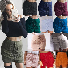 New casual sexy 12-color pocket suede straps wild self-cultivation buttocks back zipper fashion female skirt mini skirt