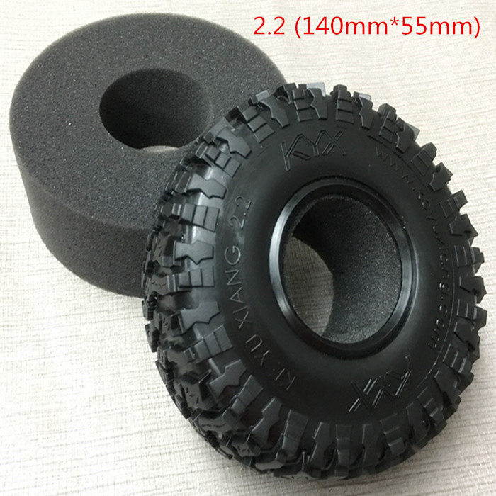 4Pcs 2.2inch Rubber Tires 140mm*55mm Sponge liner For Traxxas Trx-4 Trx4 T4 D90 D110 Axial Scx10 90046 90048 RC Crawler Car 4pcs 1 9 rubber tires