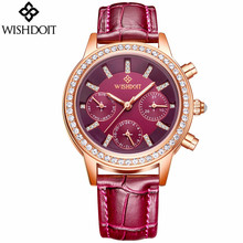 relogio feminino WISHDOIT Luxury Women Watches Fashion Casual Quartz Watch Ladies Luminous Analog Clock Leather Strap Wristwatch