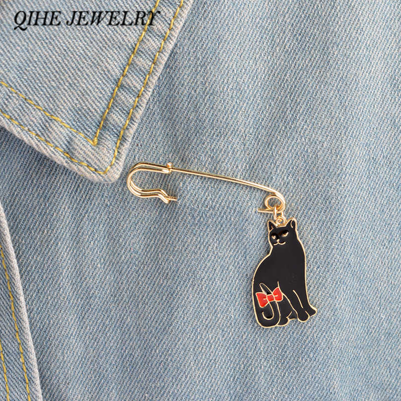 QIHE JEWELRY Cat pins White black bow Cat pins Cute animal brooch Cat lover jewelry Cat lover gifts Jewelry for women