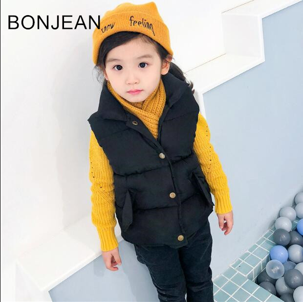 free shipping 2018 Girls new vest small children s thickening collar vest outside wear Waistcoats