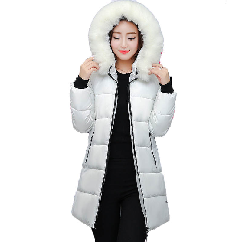 Winter women cotton jacket 2017 new pure color outerwear mid-long Thickening overcoat hooded Fur collar warm female Parkas wy026 women winter coat leisure big yards hooded fur collar jacket thick warm cotton parkas new style female students overcoat ok238
