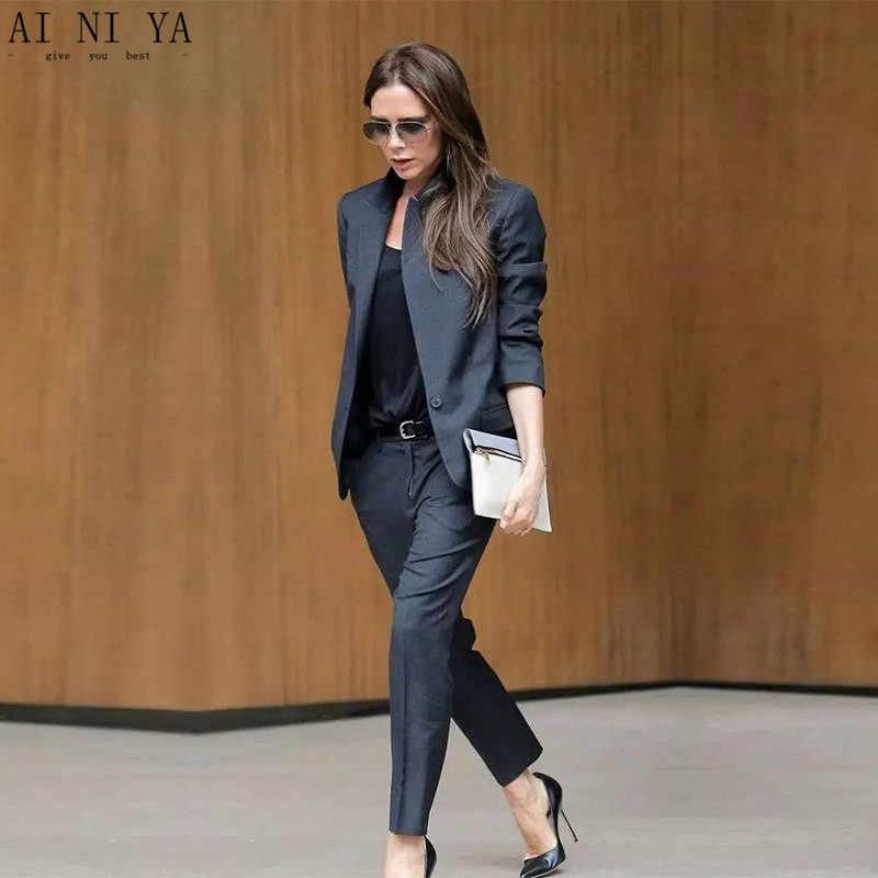 85fad135324 На заказ темно-серые женские деловые костюмы женские офисные униформы  женские брючные костюмы Формальные женские