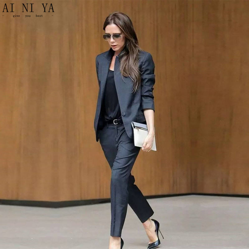 Custom Made Dark Gray Womens Business Suits Female Office Uniform Ladies Trouser Suits Formal Womens Tuxedo 2 Piece Set Blazer