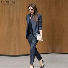 цена Custom Made Dark Gray Womens Business Suits  Female Office Uniform Ladies Trouser Suits Formal Womens Tuxedo 2 Piece Set Blazer в интернет-магазинах