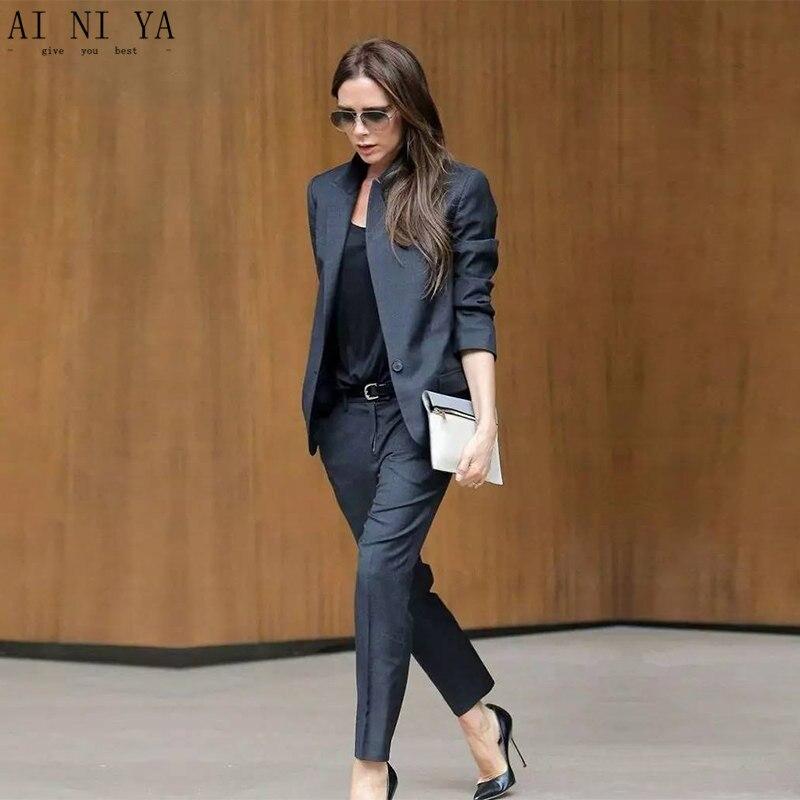 e4d1fe0a8226 Traje de negocios para mujer gris oscuro personalizado uniforme de oficina  para mujer Pantalones formales para mujer esmoquin 2 piezas conjunto Blazer