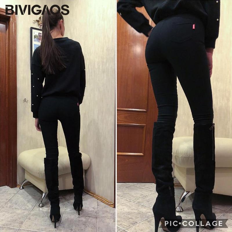 BIVIGAOS Ženska moda Kožna krpa Tkanina Povremene hlače Tanke - Ženska odjeća - Foto 4