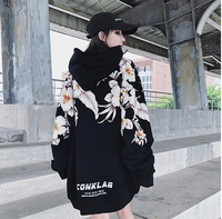 2018new hip hop hip hop style easy men's and women's same rose cross printed embroidered hoodie