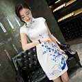Women's Classic Short Sleeve Flower Dress Chinese Style Female Satin Qipao Sexy Slim Short Blue and White Porcelain Cheongsam