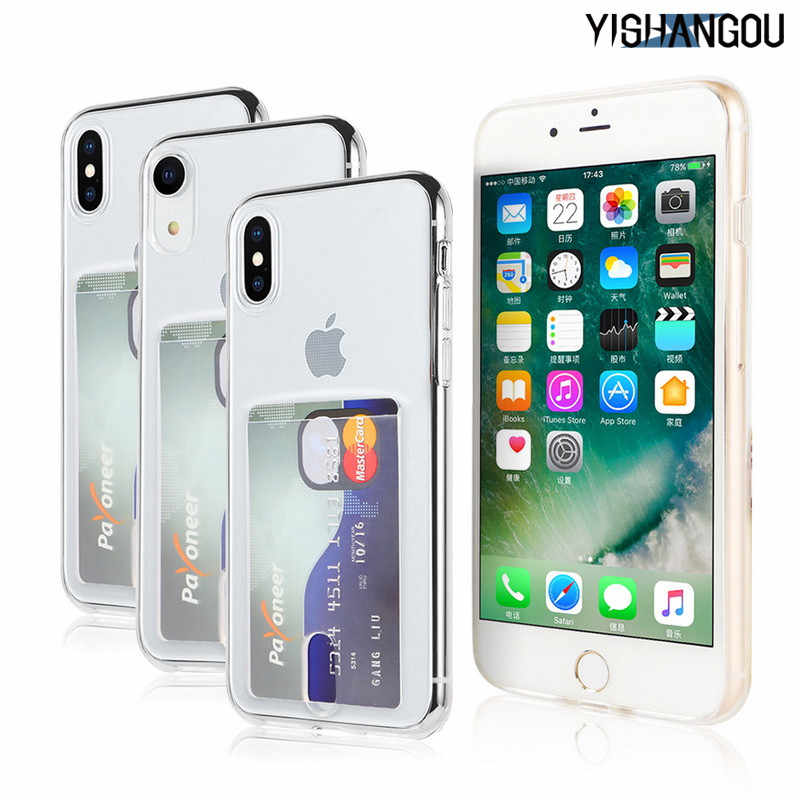 YISHANGOU Credit Card Holder Transparent Case For iPhone 11 Pro Max 7 8 Soft TPU Back Cover For iPhone 6 6S Plus X XR XS Max