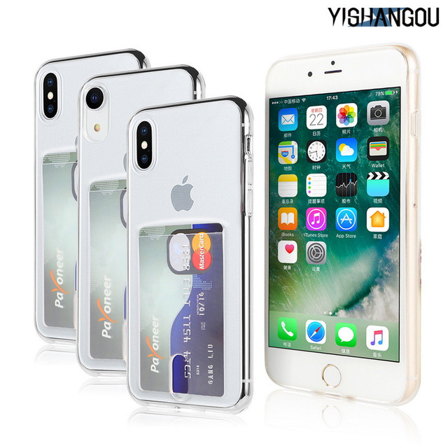 YISHANGOU Credit Card Holder Transparent Phone Case For iPhone 7 8 Plus 10  Soft TPU Back Cover For iPhone 6 6S Plus X XR XS Max cf6f4b2f20e