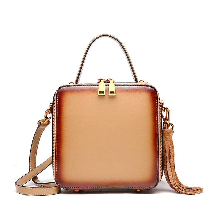 New Genuine Leather Women s Bag Cowhide Shoulder Cross body Small Bags Square Tassels Large Capacity
