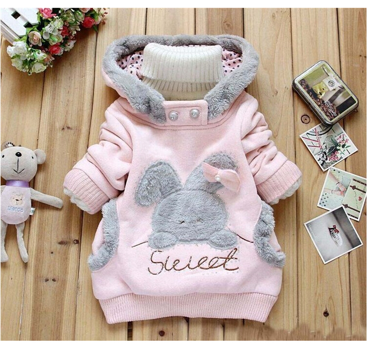 CNJiiaYun Girls Coat Cartoon Rabbit Höst Plush Girls Hoodies Full Sleeve Casual Kids Sweatshirts Barn Coats Kids Clothing