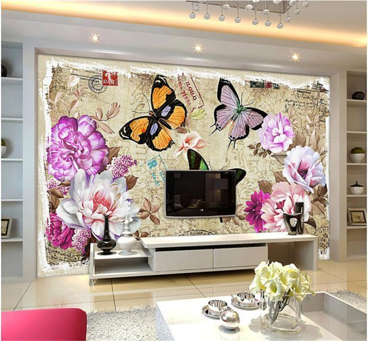 Vinyl Wall Murals popular butterfly vinyl wall murals wallpaper-buy cheap butterfly