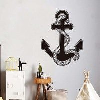 Hemp Rope With Anchor Vinyl Wall Stickers For Kids Rooms Funny Ship Wall Art Self Adhesive Wallpaper Home Decoration Accessories