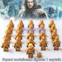 DR.TONG 21PCS Game of Thrones MOC Ice and Fire Series Jaime Lannister Barristan Selmy Meryn Trant Preston Building Blocks Toys