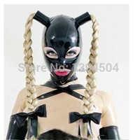 Neue heiße sexy exotische frauen frau mädchen Latex Maske Twist zöpfe weiblich zopf hauben Fetisch cekc uniform kopfbedeckungen zentai