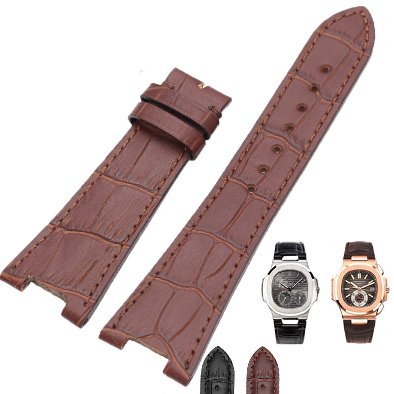 High Quality New Genuine Leather Watch Band Strap 25*18mm Brown Black Watchbands Belt For PP Accessories high quality genuine leather watchband 22mm brown black wrist watch band strap wristwatches stitched belt folding clasp men