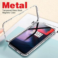 Full Body Cover Magnetic Adsorption Case For OnePlus 7 7Pro 6T Metal Frame Magnet Flip Cover for One Plus 5T/6T/7 Pro Glass Case