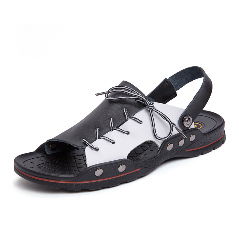 New Fashion Summer Leisure Beach Men Shoes High Quality Leather Sandals The Big Yards Men's Sandals Size 38-48 6J308(China)