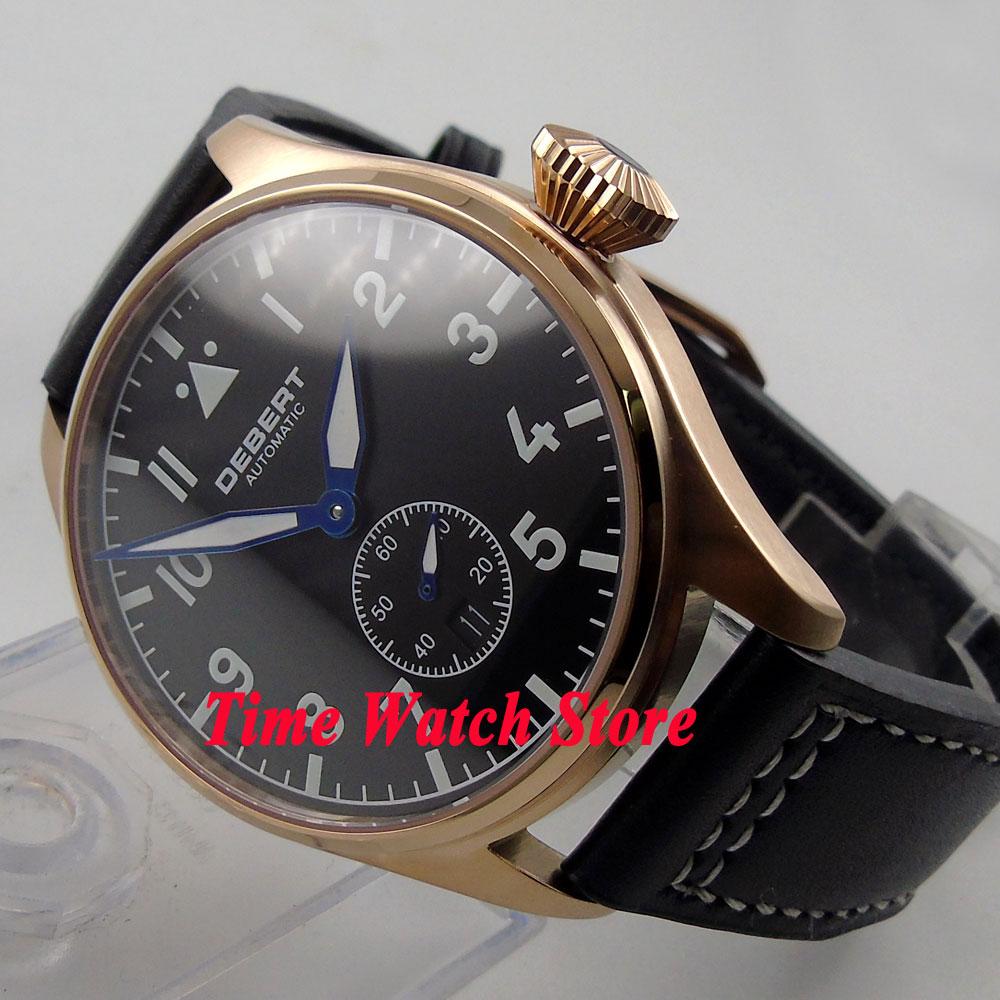 цена DEBERT 42mm black dial date luminous Sapphire Glass Automatic men's watch DE18 онлайн в 2017 году