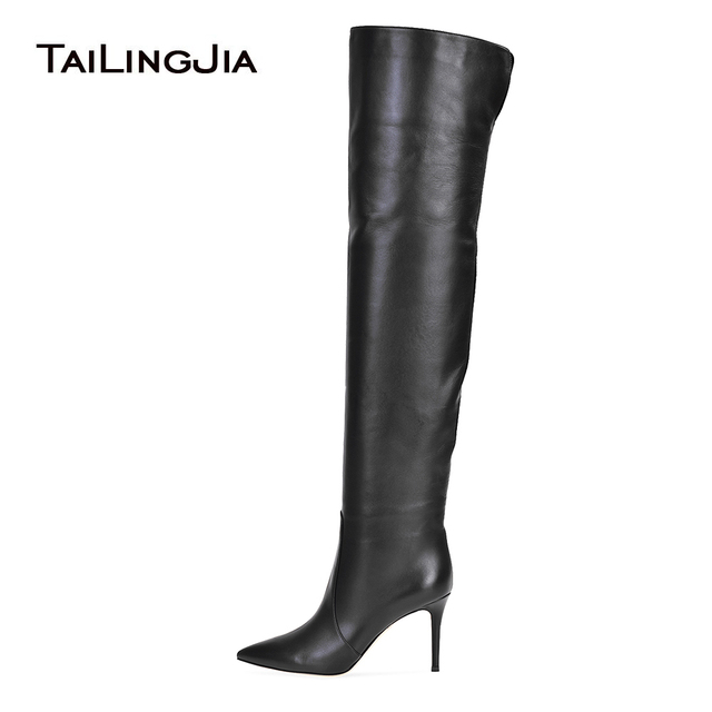 821925262025 Women Pointy Toe High Heel Over The Knee High Boots Black Tube Shaft Tall  Boots Ladies Winter Shoes Slip on Long Botas Plus Size