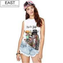 F1458 3D Gothic Movie Night Letters Print Women Camisole Tops Sleeveless Casual T Shirts