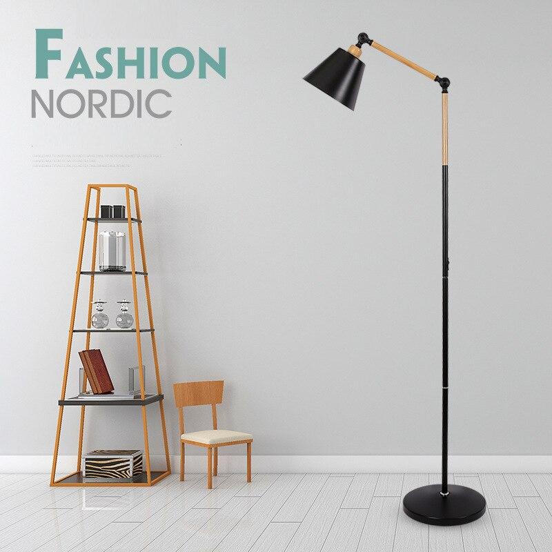 Nordic Moderna Lâmpada de Assoalho de Mármore Sala de Cabeceira Pesca Deco Luminária de Iluminação Preto Branco CONDUZIU a Lâmpada de chão