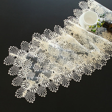 Floral Hollow Out Design Organdy Lace Table Runner Home Dinner Tea Dresser DustProof Table Runners 1pcs Exquisite Table Runners