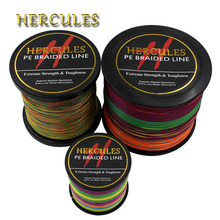 Hercules PE Braided Fishing Line Multicolor Sea Saltwater Fishing Cord Super Strong 4 Strands 100M 300M 500M 1000M 1500M 2000M