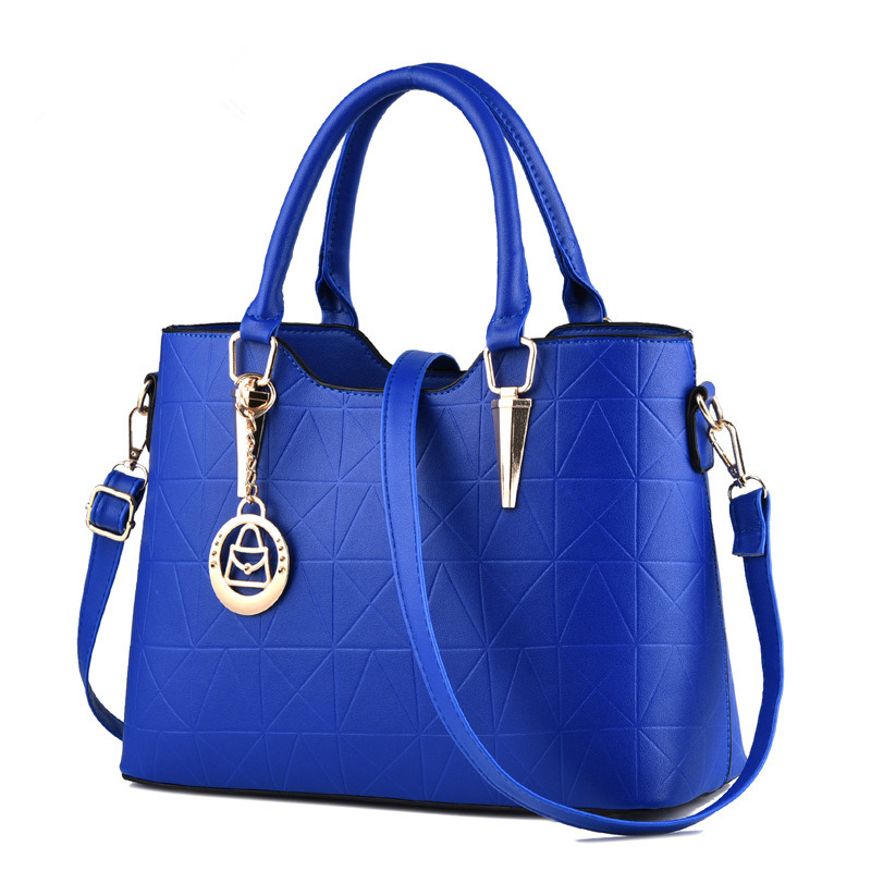 Blue Elegant PU Women Handbag Casual Office Lady Shoulder Bag Tote Crossboday Messenger Zipper elegant pu office lady business handbag casual clutch fashion women shoulder bag zipper pink