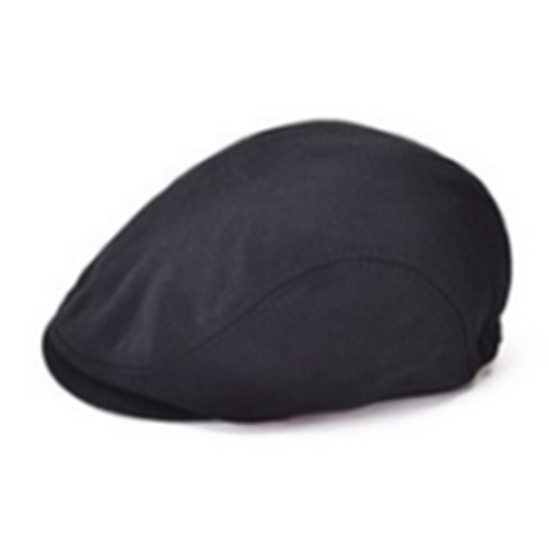 MYPF-Classic Men Women Beret Pure Color Flat Hat Golf Driving Sun Cap Black