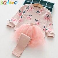 Sodawn 2017 סתיו בגדי ילדים ארוך שרוולים פרח הדפסה בגדי בנות חולצות + חוט נטו מכנסיים חצאית 2 יחידות להגדיר ילדי בגדים