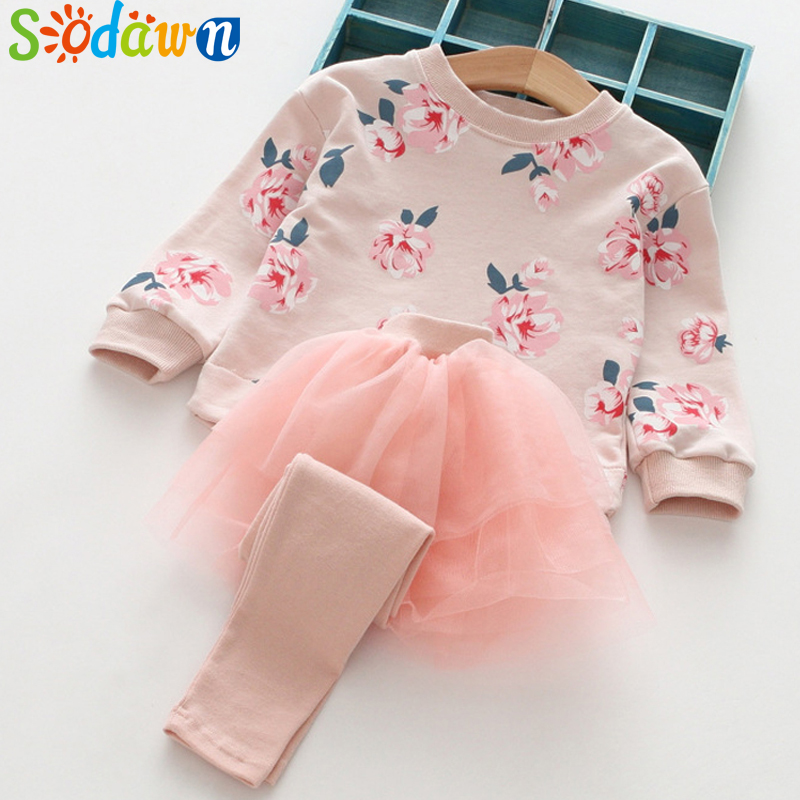Sodawn Autumn Children Clothing Long-Sleeved printing Flower Tops+Net Yarn Skirt pants 2PCS Girls Clothing Set Kids Clothing autumn children s sets girls skirt set children woolen set kids long sleeve hooded coat skirt 2pcs princess clothing for 3y 10y
