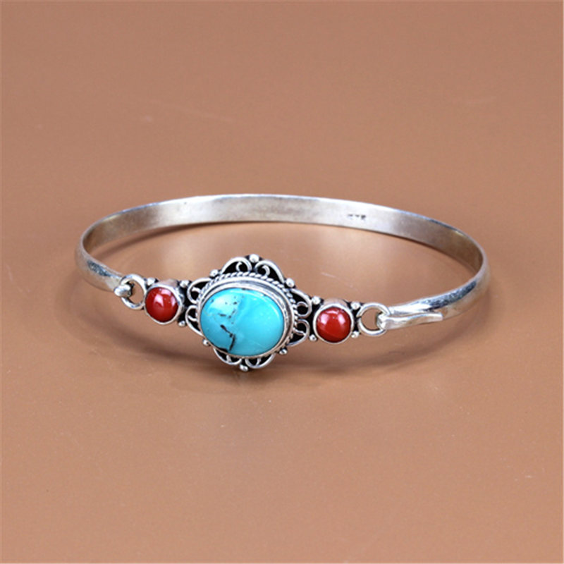 T9110 Nepal 925 sterling Silver inlaid Natural Stone Coral Vintage Bangles Free Ship