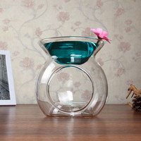 Transparent Glass Lamp of Large Capacity Furnace Simple Essential Oil Fragrance Candle Incense Burners