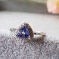 2017 novo anel para a mulher 5mm Tanzanite natural tanzanite anel tanzanite natural tanzanite casamento anel de prata Do Vintage jóias