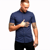 Men Casual Shirt Short Sleeves 2018 Summer New Light Luxury Business Stand Shirts for Men Men's Clothing Casual Shirts Navy Blue