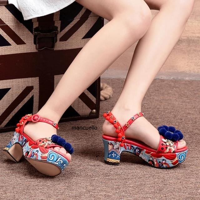 New Design Colorful Fur Pompom Crystal Dress Sandals Fancy Women Paillette Line Buckle Style Wedge Heels Printed Heel Shoes ornate printed pocket design dress